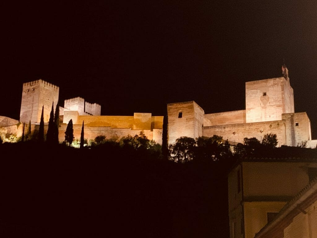 Alhambra Castle and Fortress at night, Alahambra, Spain