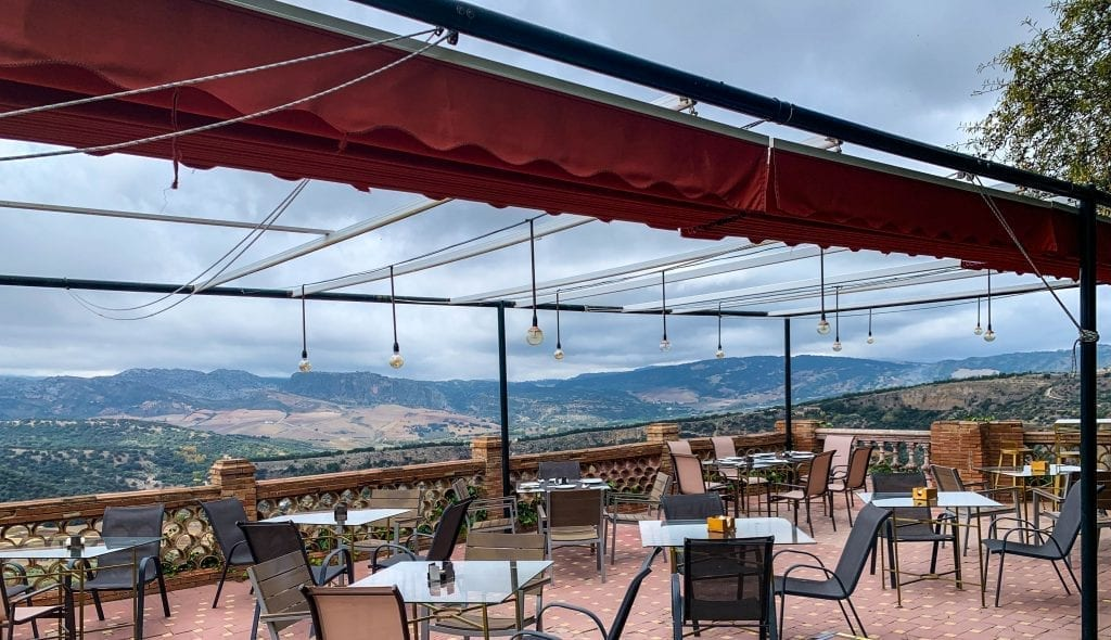 Rhonda restaurant terrace overlooking the gorge and valley