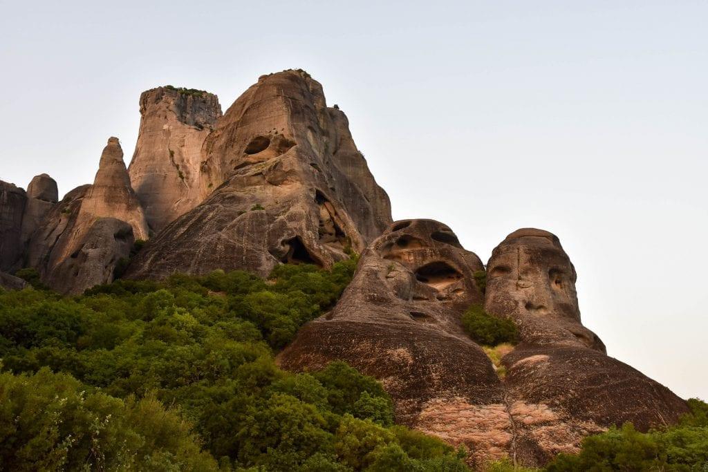 Rock with caves near Meteora Monasteries