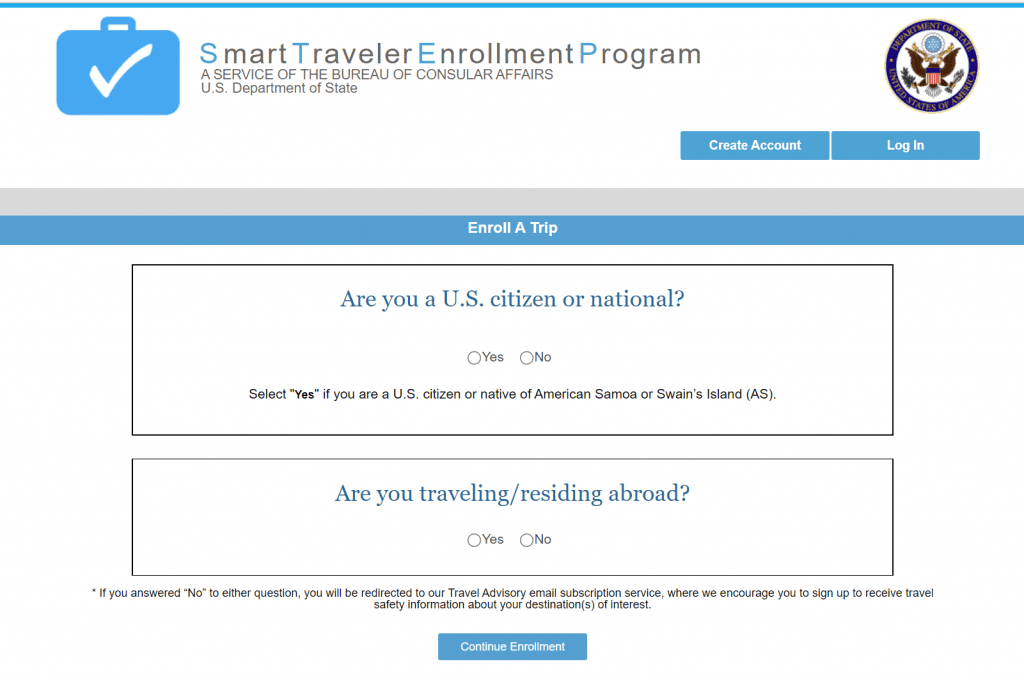 Smart Traveler Enrollment Program (STEP) Screen 1