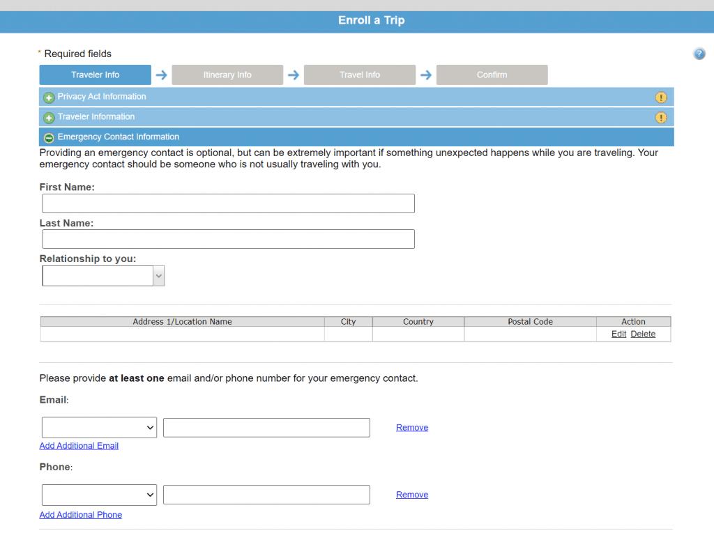 Smart Traveler Enrollment Program (STEP) Screen 5