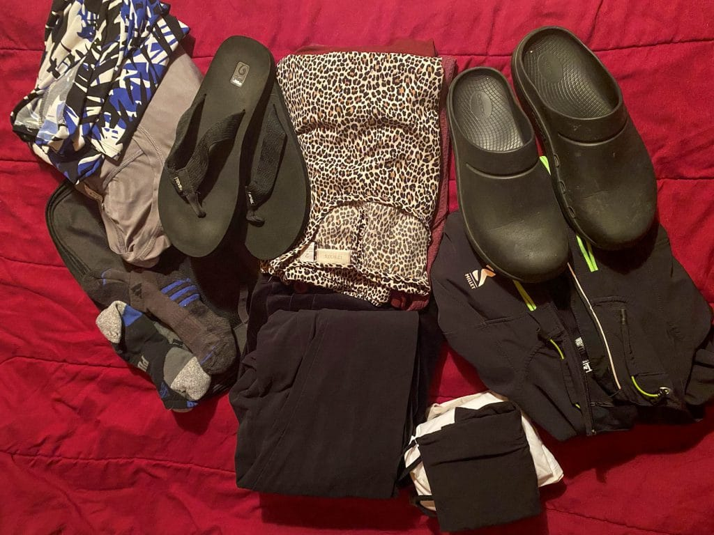 Packing clothes and shoes